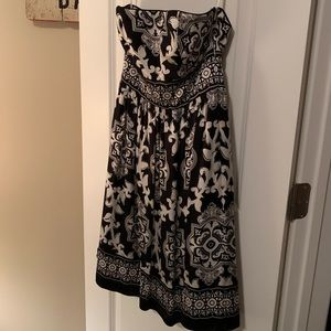 Strapless Black and White Cocktail Dress